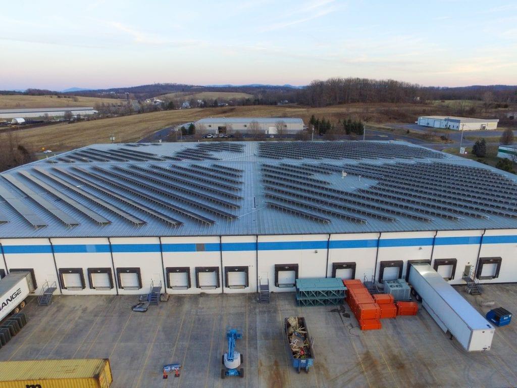 Solar power warehouse roof Virginia Aurora Energy Inc.
