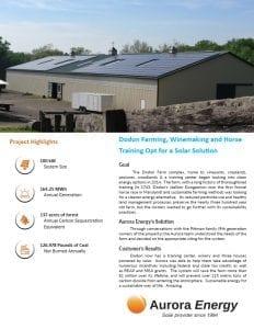 Dodon Farm solar installation case study Aurora Energy
