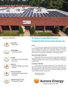 HR Construction solar installation case study Aurora Energy