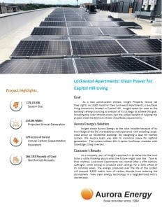 Lockwood Apartments solar installation case study Aurora Energy
