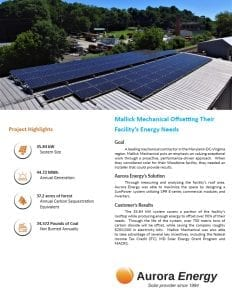 Mallick Mechanical solar installation case study Aurora Energy
