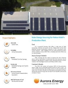 Patton Kiehl solar installation case study Aurora Energy