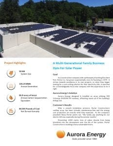Porter Construction solar installation case study Aurora Energy