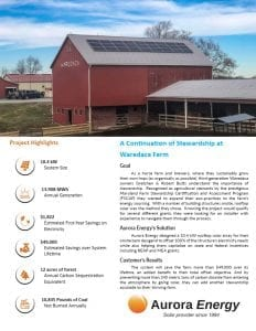 Waredaca Farm solar installation case study Aurora Energy