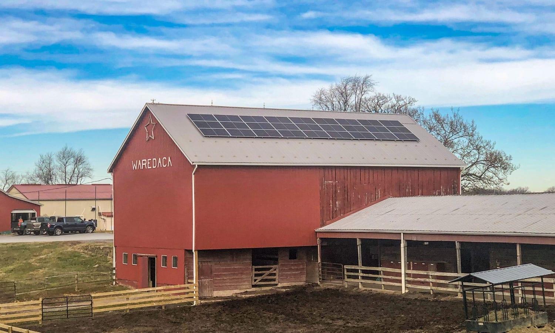 Solar for farms barn roof array Aurora Energy Inc. installer