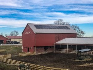 Barn rooftop solar array Maryland