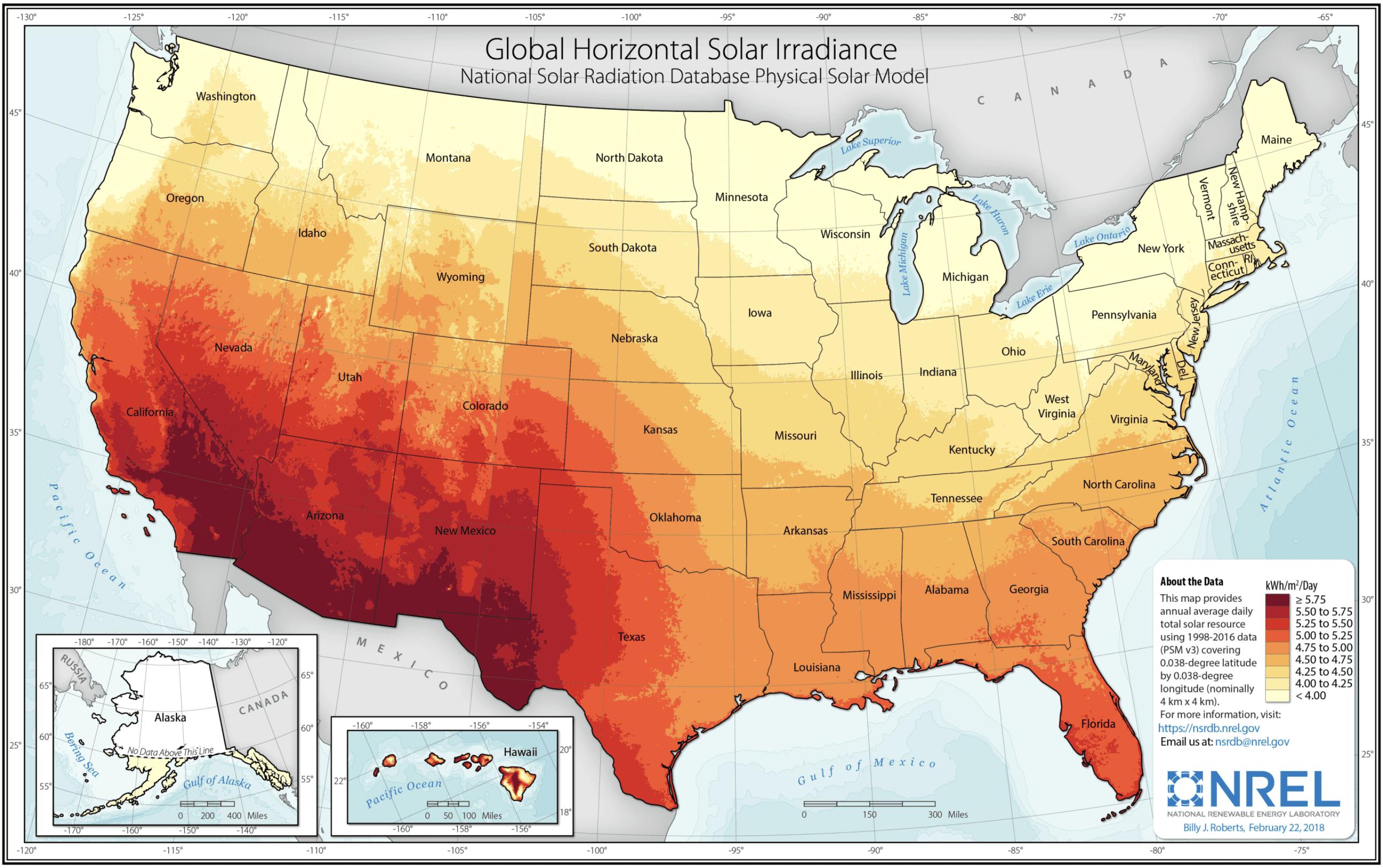NREL Solar Irradiance Map U.S.
